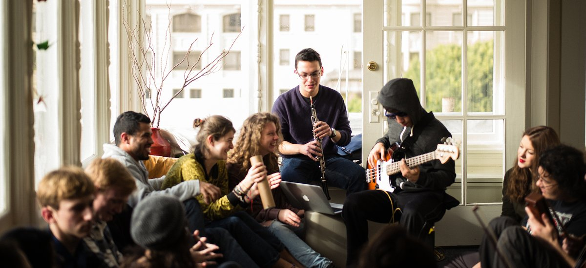 Students during a jam session at the residence hall