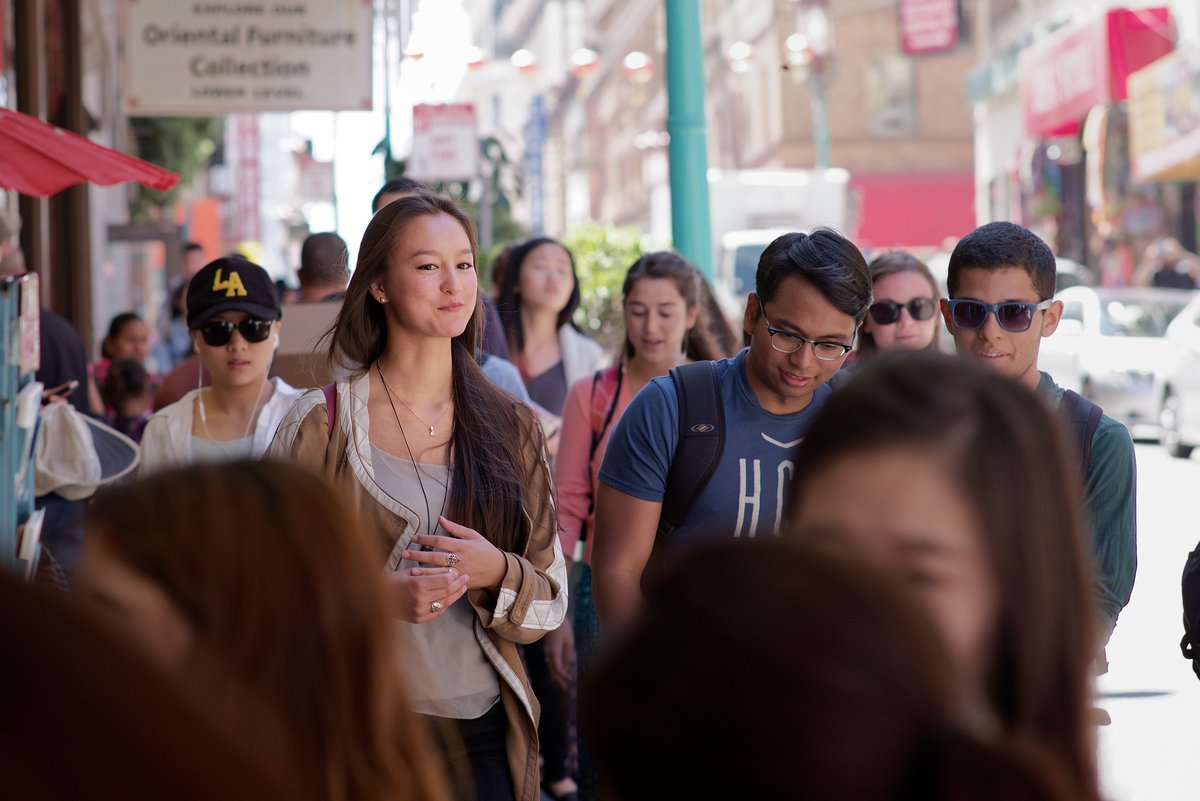 Alisha, Haziq and Guillaume walking through Chinatown, SF